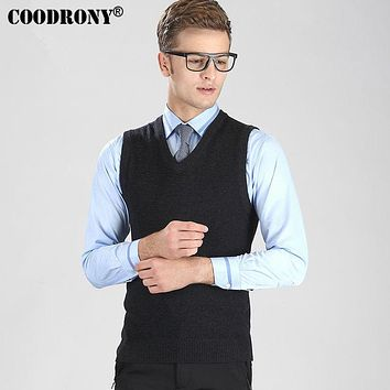 Solid Color Classic Wool Vest Men Winter Sleeveless Sweater Home Casual V-Neck Pull Warm Cashmere Pullover