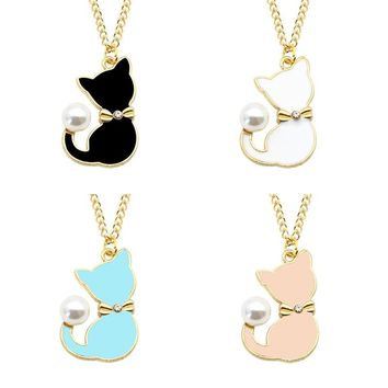 Fashion Pearl Tail Pet Cat Pendant Necklace Creative Animal Lovely Personalized Bow Meow Ornaments Best Gift For Girl friends