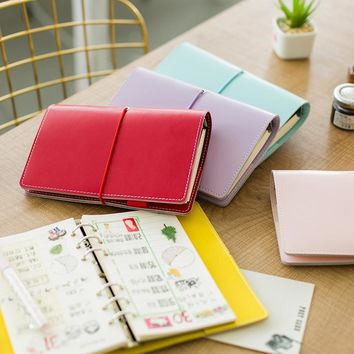2017 New Korean Kawaii Macaroon High Quality Leather Business Office Binder Lined Notebook School Stationery Agenda Planner A6