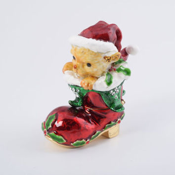 Christmas Cat in a Christmas Boot Faberge Styled Trinket Box Decorated with Swarovski Crystals Handmade by Keren Kopal