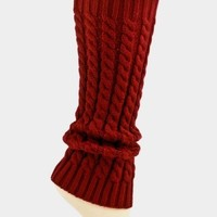 Solid Cable Knit Leg Warmer/Boot Socks