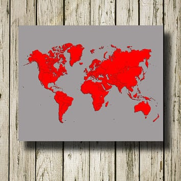 WORLD MAP Printable Instant Download Gray and Red Print Poster Home Decor Wall Art W020