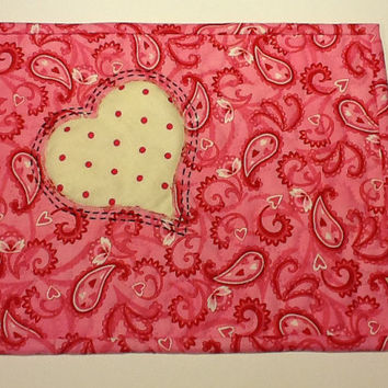 Pink and White Heart Valentine Mug Rug, Pink Candle Mat