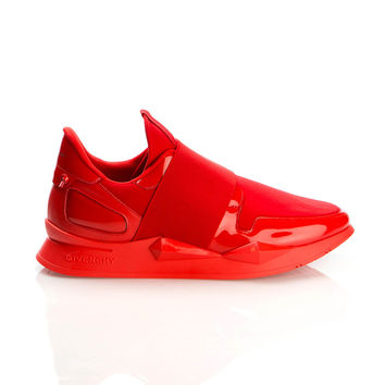 GIVENCHY RED PATENT LEATHER AND NEOPRENE RUNNER ELASTIC SNEAKERS