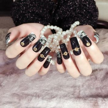 24pcs Long Square Black Fake Nails Queen Style Party False nails Tips Pre-designed with Lace and Metal Rivets Z397