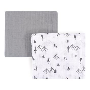 46'' x 46'' Gray Mountain Muslin Swaddle Blanket - Set of Two