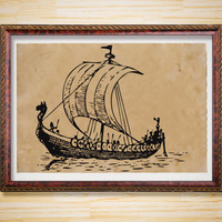Nautical poster Viking print Boat decoration