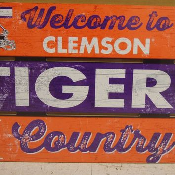 "CLEMSON TIGERS WELCOME TO TIGERS COUNTRY WOOD SIGN 19""X30'' NEW WINCRAFT"