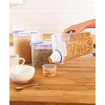 Cereal, Grains, Rice, Flour, Sugar Storage Canister Organizer Dispensers with Measuring Cup