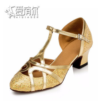AIQIAOER Dancing Shoes For Girls Sequined Jazz Dance Shoes Genuine Leather Sole Tango Dance Shoes Zapatos De Baile Latino Mujer