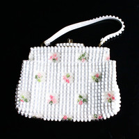 Vintage White Beaded Purse - 1950s 1960s Mod Pink Floral Purse / Flower Embellished Bag