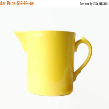 ON SALE - Yellow Pottery Pitcher, Vintage Kitchen Serving, Bright Lemon Yellow Spring or Summer Home Decor