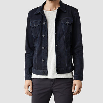 Mens Cormorant Denim Jacket (Blue/Black) | ALLSAINTS.com