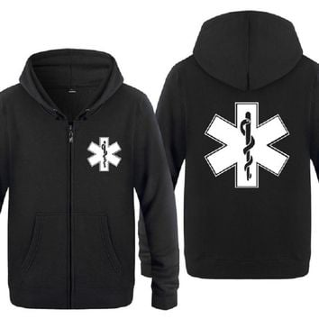 Zipper Hoodies Men EMT Emergency Ambulance Printed Mens Hoodie Brand Fleece Long Sleeve Mens Jacket Sweatshirt Moletom Sudaderas
