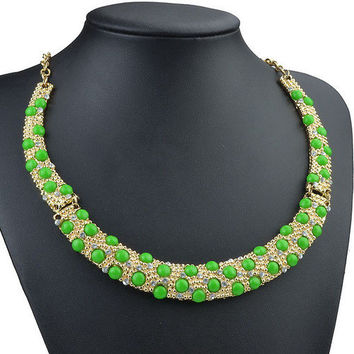 ** MAKE OFFER ** NEW GREEN TRENDY BIB STATEMENT NECKLACE Independent Designer one size by Alisha's Fashion