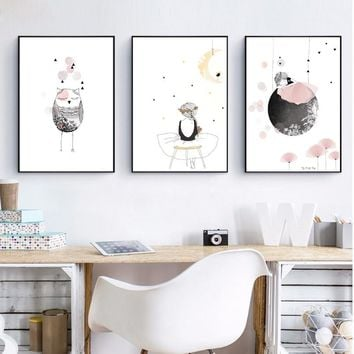 kids Girl Poster Cute Wall Art Print  Girl With Flowers Cartoon Canvas Painting Lovely Picture For Baby Girls Room