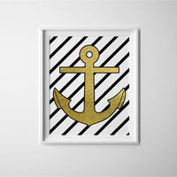 Nautical decor, gold foil effect anchor on black and white stripes, cute print for the bathroom or home decor wall art, gold leaf effect art