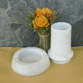 Vintage set of Marble Ashtray and small Vase,beautiful gift set, Home decor, Marble set
