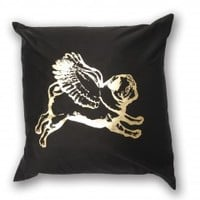 Large Pug on Black Cushion Cover from PUGS MIGHT FLY | Made By Pugs Might Fly | £21.00 | BOUF