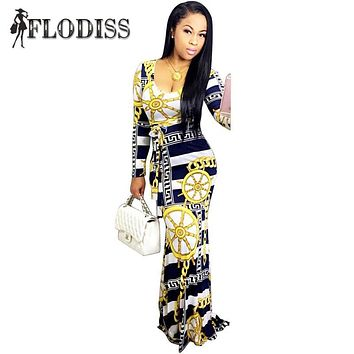 Vestidos 2017 Autumn Women Elegant Bohemian Maxi Dress Sexy Casual Long Sleeve Slim Chain Print Striped Bodycon Dress Plus Size