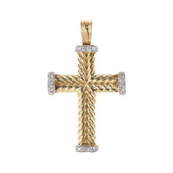 David Yurman Women's Vintage David Yurman Diamond & Gold Cable Cross Pendant Necklace