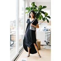 Free And Easy V-Neck Maxi Dress In Black