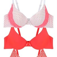 Set of 3 Bras with Dots and Zebra Print