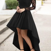 Black Lace Pleated Swallowtail High-Low High Waisted Homecoming Party Sweet Maxi Dress