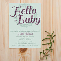 Hello Baby Baby Shower Invitation customizable printable
