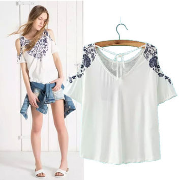 Stylish V-neck Strapless Short Sleeve Print Women's Fashion Tops T-shirts [5013404612]