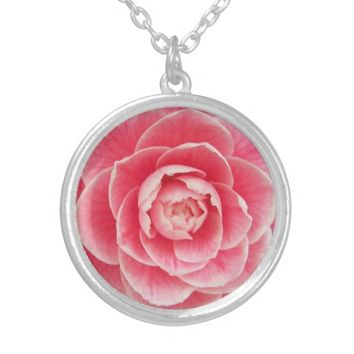 Pink Camellia Blossom Floral Silver Plated Necklace