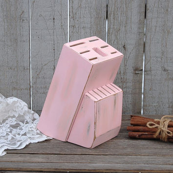 Pink shabby chic knife block