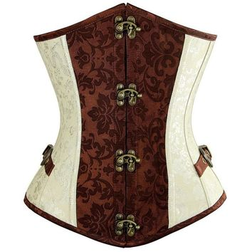 Godier Brown Lvory Underbust Corset Goth Buckle Highest Quality Flowers Pattern Steampunk Corset punk corset sexy corset Gothic