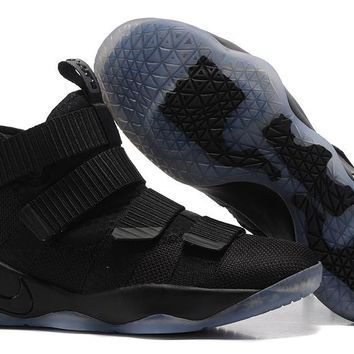 HCXX Nike Zoom Air Men's Lebron Soldier 11 Basketball Shoes All Black 40-46