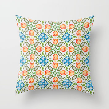 FLOWER TILE DESIGN (ORANGE, TEAL, GREEN) Throw Pillow by AEJ Design