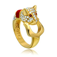 Stainless Steel Leopard W. Cubic Zirconia Ring - Red and Gold Color