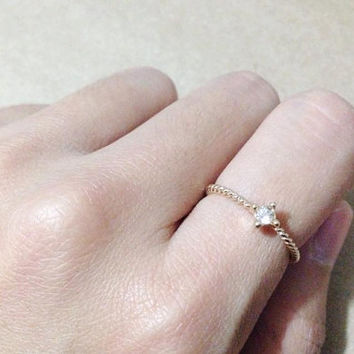 Thin ring. Tiny diamond ring. Gold ring. Twist ring. Stacking ring. gift for her.