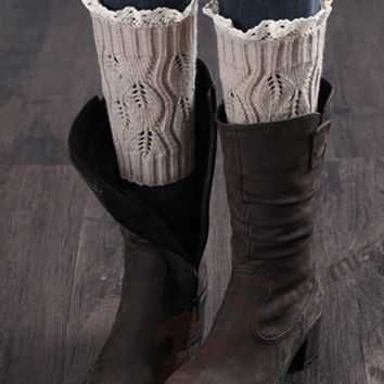 Streetstyle  Casual Solid Patterned Knit Leg Warmer