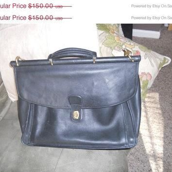 25 % store wide sale Vintage Coach attache briefcase bag black leather used