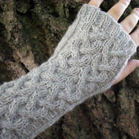 Cable knit fingerless gloves, wool arm warmers / wrist warmers, grey