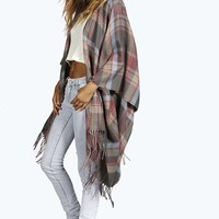 Rose Oversize Check Cape