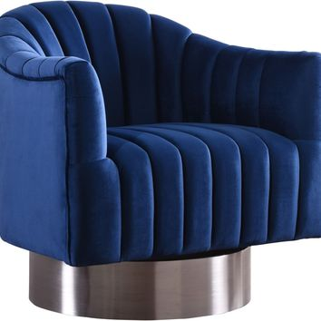 Farrah Navy Velvet Swivel Accent Chair With Chrome Base