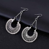 Boho Long Drop Earrings For Women Jewelry Vintage Silver Earrings Power Bohemian Rope Wrap Earrings