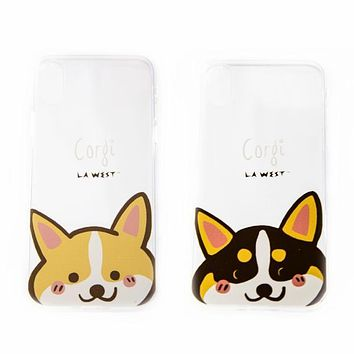 Cartoon Corgi Iphone X Clear TPU Phone case