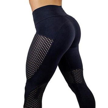 2017 Mesh Women Sports Running Tights Fitness Leggings Training Jogging Skinny Workout Compression Sweat Pants Leggins