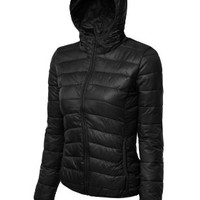 LE3NO Womens Fitted Zip Up Jacket with Hood