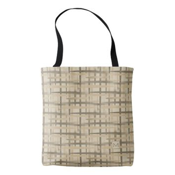 Monogram Retro Abstract Weave Tan Tote Bag