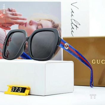 GUCCI Fashion Ladies Men Blue Red Stripe Frame Summer Sun Shades Eyeglasses Glasses Sunglasses I-A-SDYJ