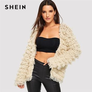SHEIN Apricot Solid Open Front Teddy Cardigan Casual Elegant Long Sleeve Minimalist Sweater Women Autumn Highstreet Sweaters