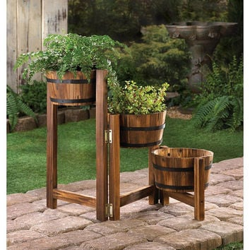 Rustic Country Charm Triple Apple Barrel Wooden Planter Pots Ladder